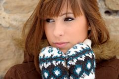 Cold girl waiting. Cold brunette girl waiting in winter Royalty Free Stock Images