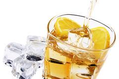 Cold glass of alcohol. Glass of ice and citrone Royalty Free Stock Photography