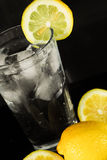 Cold glass of Ice water with Lemon. Royalty Free Stock Photo
