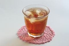 Cold glass of iced tea with ice Stock Image