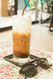 Cold glass of milk mocha Royalty Free Stock Photography