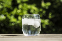 Cold glass of water. With ice cubes. Condense has formed on the outside of the glass Stock Image
