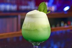 Green cocktail with mint leaf royalty free stock photos