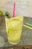 Cold green lime juice with ice cubes Stock Photography
