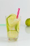 Cold green lime juice with ice cubes Royalty Free Stock Photography
