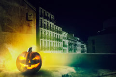 Cold Halloween night in the city Stock Photo