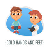 Cold hands and feet medical concept. Vector illustration. Royalty Free Stock Photography