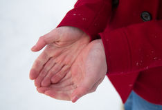Cold hands. In winter time Royalty Free Stock Photo