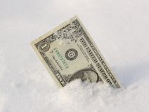 Cold Hard Cash. Frosted dollar bill in snow Stock Images