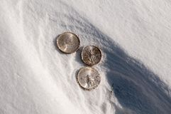 Cold hard cash - silver coins in snow Stock Image
