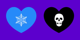 Cold Heart & Dark Heart. Vector Illustrations of Heart Related Metaphors Royalty Free Stock Photography