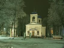 Cold holiday night. Orthodox church. Pending Christmases. Provincial city in Latvia Stock Photos