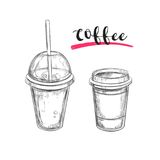 Cold and Hot Coffee. Drinks. Vector hand drawn illustration. Sketch style. Cold and Hot Coffee. Drinks. Vector hand drawn illustration royalty free illustration
