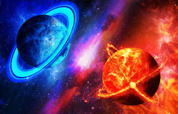 Cold and hot planet, opposition of planets. Space with planets, Royalty Free Stock Photos