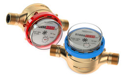 Cold and hot water meters Stock Photos