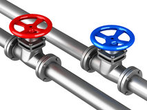 Cold hot water pipelines with red blue valves on white backgroun Royalty Free Stock Images