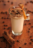 Cold ice coffee with chocolate. Cold fresh ice coffee with chocolate and cinnamon - close up Royalty Free Stock Photo