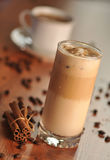 Cold ice coffee with chocolate. Cold fresh ice coffee with chocolate and cinnamon - close up Royalty Free Stock Image