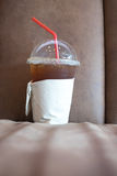 Cold Ice coffee on sofa. Lifestyle of worker and student stock photography