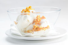 Cold ice cream on transparent dish Stock Photography