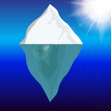 Cold Iceberg in Ocean Under Sun Shine. Vector Illustration. Stock Images
