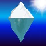 Cold Iceberg in Ocean Under Sun Shine. Vector Illustration. Stock Images