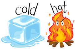 Cold icecube and hot fire Royalty Free Stock Photos