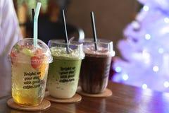 Cold iced Chocolate, Green Tea and Peach Tea stock photo
