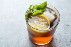 Cold Iced Tea Bergamot with Mint Leaves, Lemon and Ice. Summer Drink stock photography