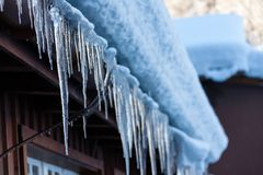 The cold icicles of Switzerland royalty free stock photo