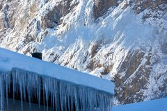 The cold icicles of Switzerland royalty free stock photos