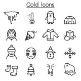 Cold icon set in thin line style. Vector illustration graphic design Royalty Free Stock Photos