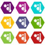 Cold icons set 9 vector. Cold icons 9 set coloful isolated on white for web Royalty Free Stock Photo