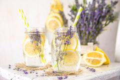 Cold Infused Detox Water with Lemon and Lavender. royalty free stock image