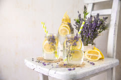 Cold Infused Detox Water with Lemon and Lavender. Provence Style Royalty Free Stock Photo