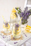 Cold Infused Detox Water with Lemon and Lavender. Provence Style Stock Photo