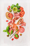 Cold  Italian meat plate with ham, sausage, bread and pesto Stock Image