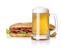 Cold lager beer glass and long sandwich Stock Photos