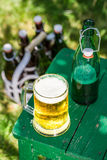 Cold lager beer in sunny day Stock Images