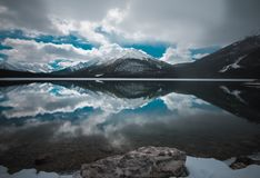 A cold lake near Canmore Alberta with a perfect reflection royalty free stock photography