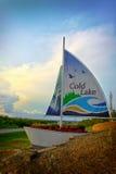Cold Lake Sailboat. Welcome to Cold Lake Alberta sailboat at the entrance of Cold Lake Royalty Free Stock Image