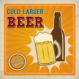 Cold larger beer retro poster. Cold larger beer. Poster in vintage style, vector illustration Stock Photo