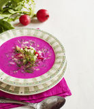 Cold Latvian soup. Vegetable soup with beetrots. Royalty Free Stock Photos