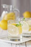 Cold lemon water. With ice and mint, selective focus Royalty Free Stock Image