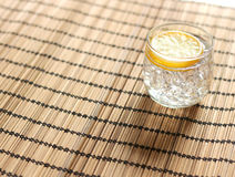 Cold lemonade with ice placed Stock Photo