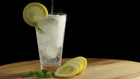 Cold Lemonade with Ice stock footage