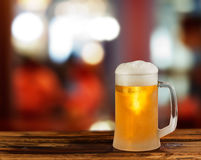 Cold light beer glass mug Stock Photos