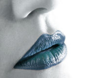 Cold lips. Closeup of beautiful cold lips Royalty Free Stock Image