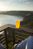 Cold local texian beer. Cold Texan beer under hot Texan sun near Austin lake stock images