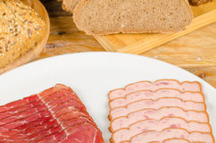 Cold meat and bread Stock Photography